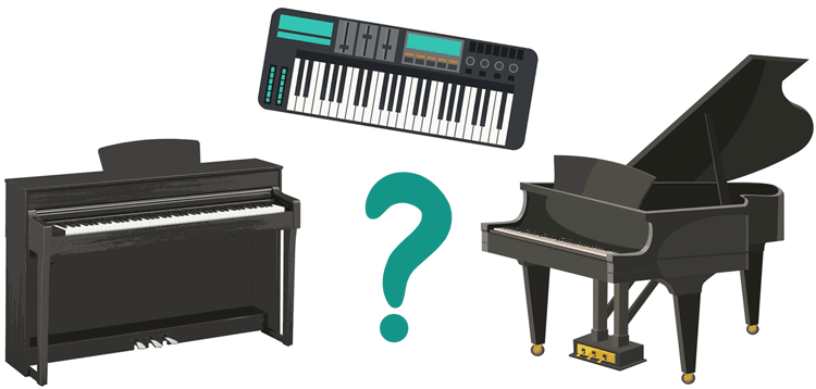 acoustic vs digital piano vs keyboard