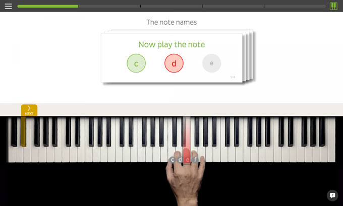 Skoove piano learning app