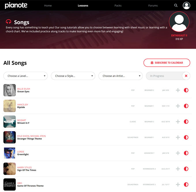 Pianote Song Library