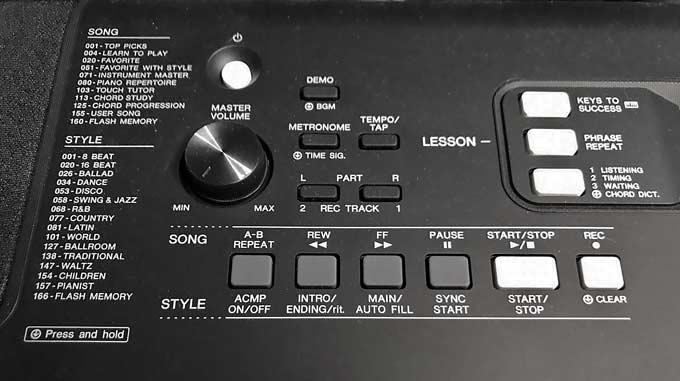 Yamaha PSR-E363 PSR-EW300 buttons