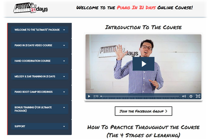 Piano in 21 Days Welcome Page