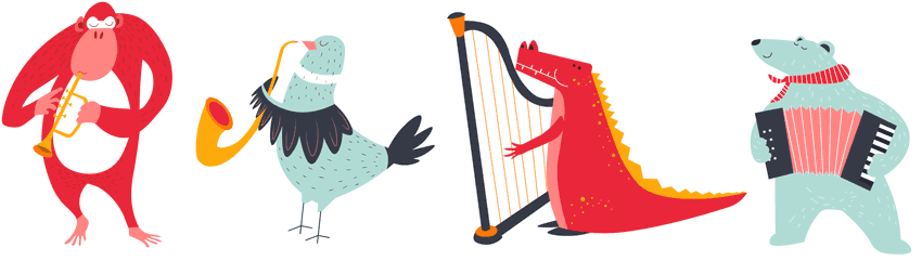 Animals Playing in Orchestra
