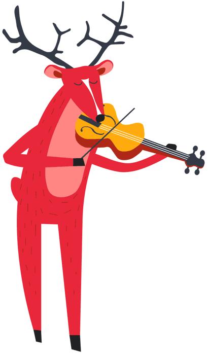 Deer Playing Strings