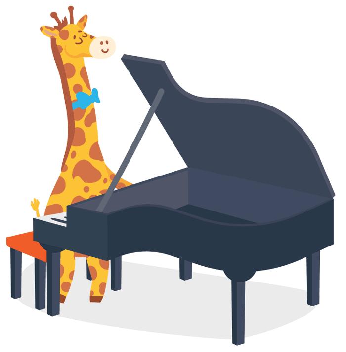 Giraffe Playing Piano