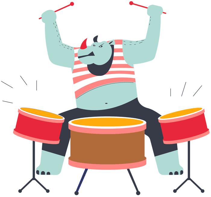 Rhino Playing Drums