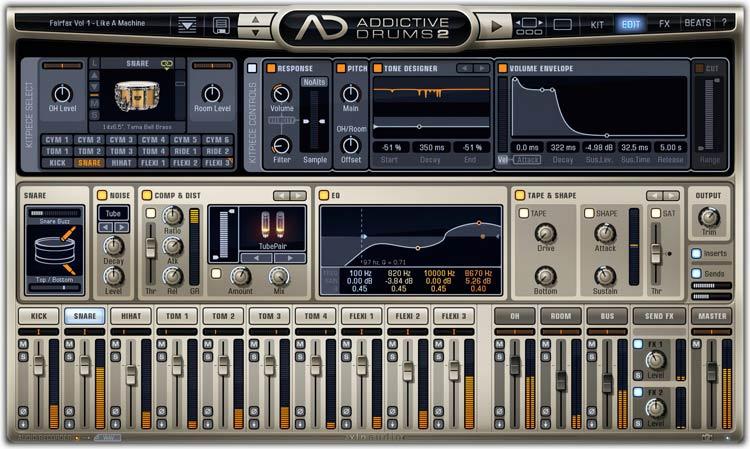 XLN Addictive Drums 2 Edit tab