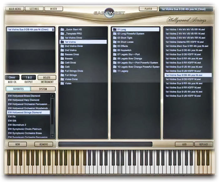 EastWest Hollywood Strings Patch Browser