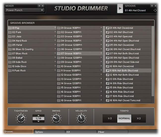 Native Instruments Studio Drummer Grooves tab