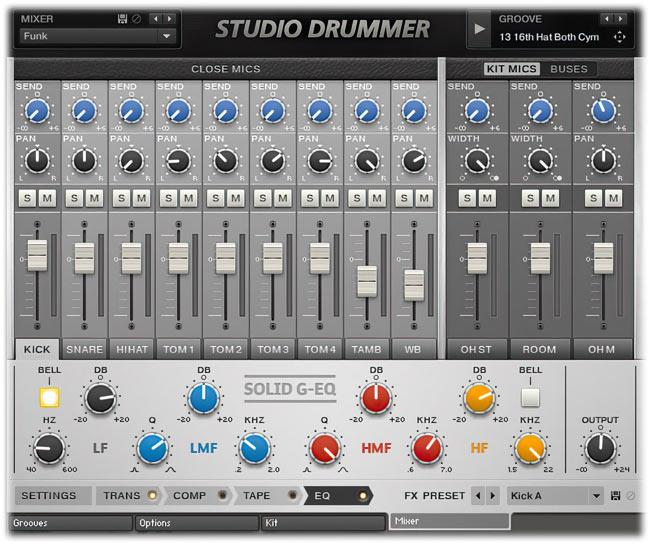 Native Instruments Studio Drummer Mixer tab