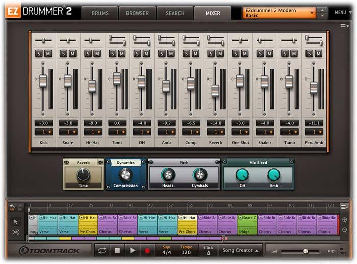 Toontrack EZdrummer 2 Mixer tab
