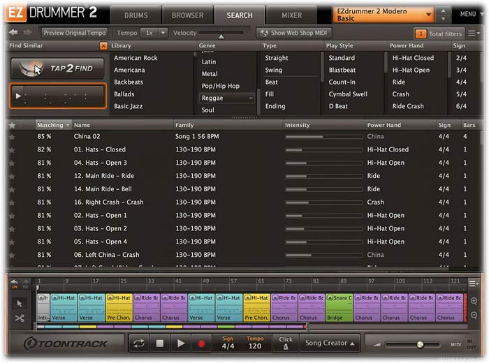 Toontrack EZdrummer 2 Search tab