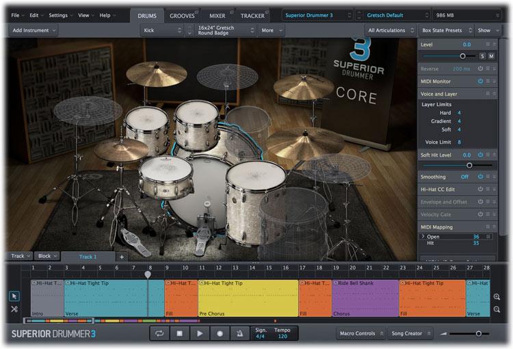 Toontrack Superior Drummer 3 Drums tab
