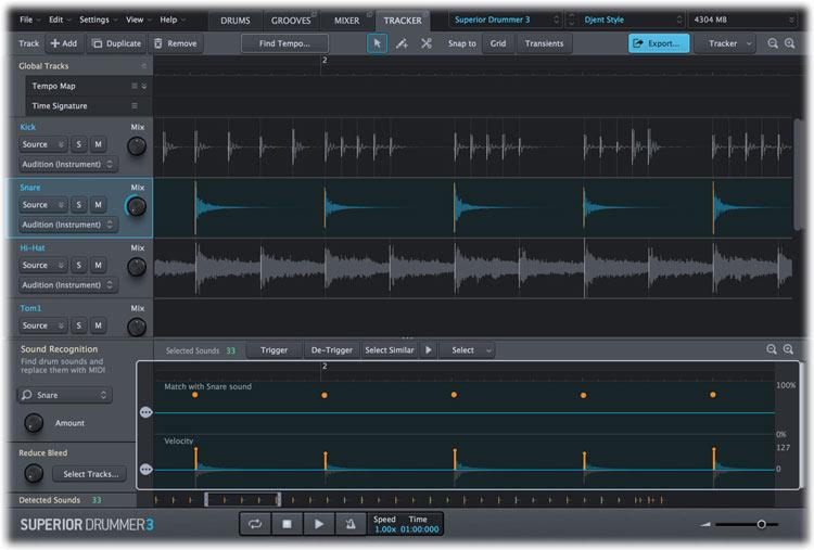 Toontrack Superior Drummer 3 Tracker tab